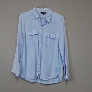 TOPSHOP Light Blue Chambray Button Up Top Size 4
